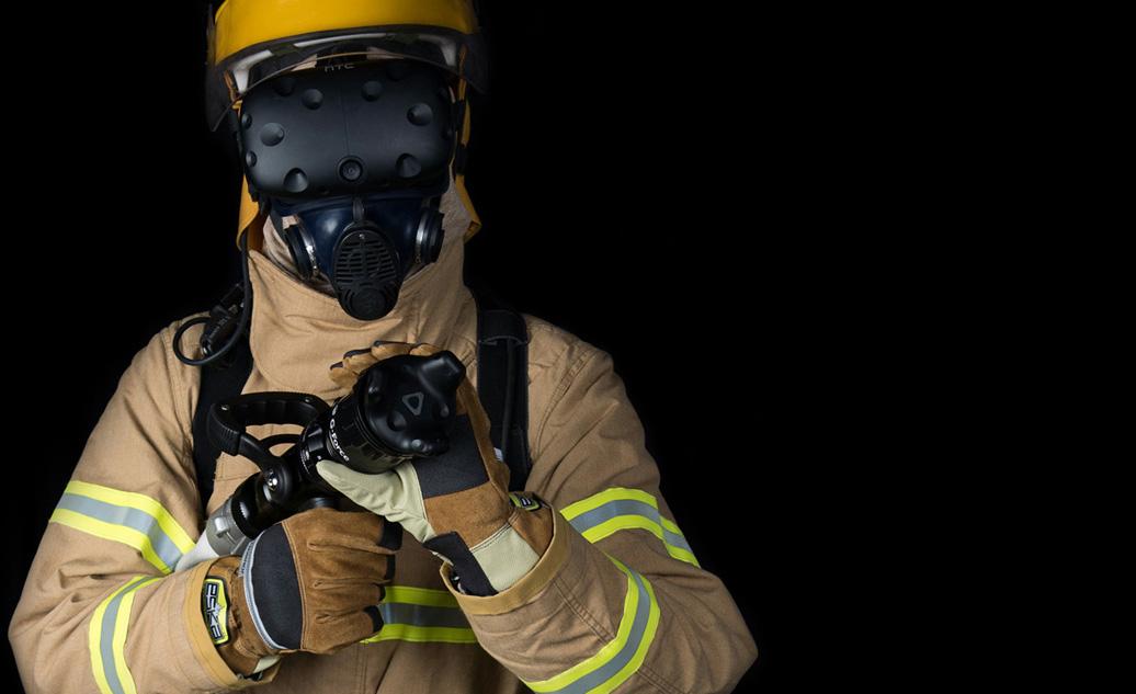 Un pompier en train de s'entrainer en utilisant la VR
