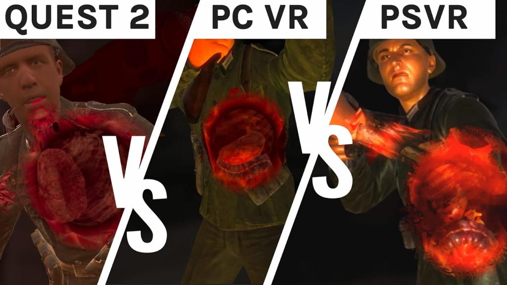 Comparaison graphique de Sniper Elite VR - Quest 2 vs PSVR vs PC